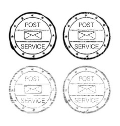 post service black faded round stamp vector image vector image