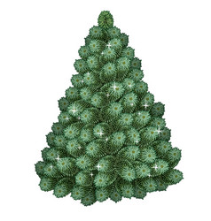 realistic green christmas tree holiday symbol vector image vector image