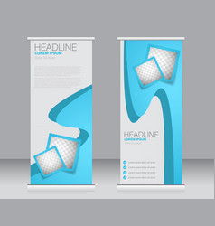 roll up banner stand template vector image vector image