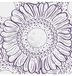 Seamless texture stylized sunflowers purple vector image