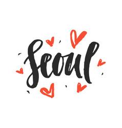 Seoul modern city hand written brush lettering vector