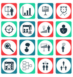 Set of 16 management icons includes opinion vector