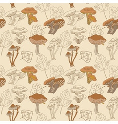 Stock seamless pattern with mushrooms and leaves vector image