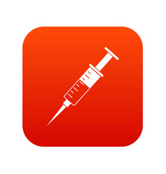 Syringe icon digital red vector