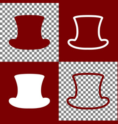 Top hat sign bordo and white icons and vector