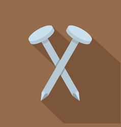 two metal nails icon flat style vector image