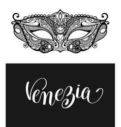 Venezia calligraphy brush lettering text design vector