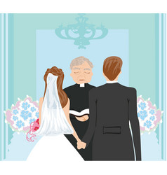 Wedding couple and the priest vector