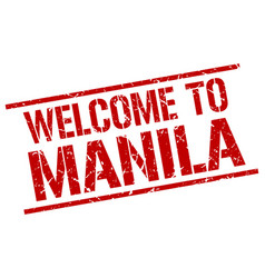 welcome to manila stamp vector image vector image