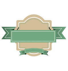 white emblem with green ribbon icon vector image vector image