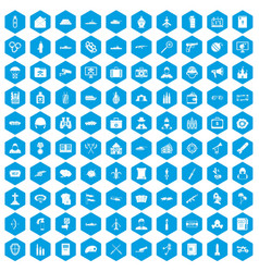 100 military icons set blue vector