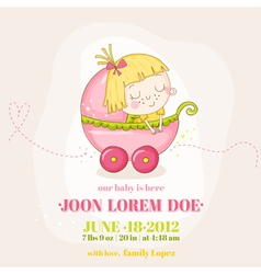 Cute baby girl in a carriage - baby shower vector