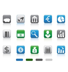 Square button of simple finance and banking icons vector