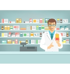 Pharmacist counter man with medicine in pharmacy vector