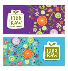 Raw food horizontal flyers set vector