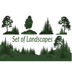 Landscapes with trees silhouettes vector