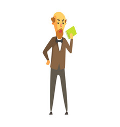 Bald bearded man in a jacket and bow tie standing vector