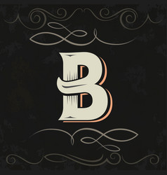 retro style western letter design letter b vector image