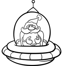Santa in spaceship coloring page vector