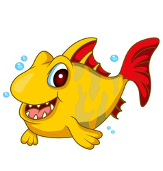 Cute yellow fish cartoon vector