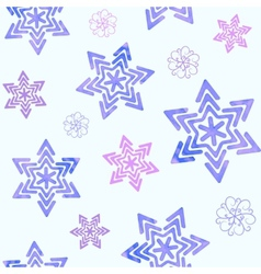Seamless pattern with watercolor snowflakes vector image