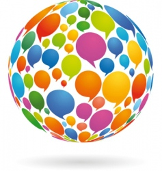 speech bubbles on globe vector image