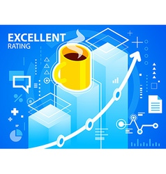 Bright excellent rating and coffee on blue b vector