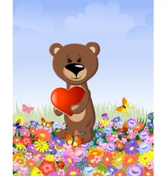Bear with a valentine's vector