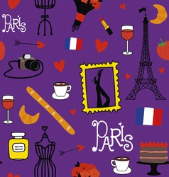 Seamless pattern with symbols of paris vector