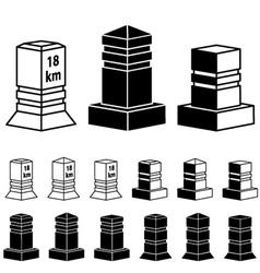 3d milestone boundary stone black symbols vector
