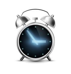 Old metal alarm clock with digital display vector image