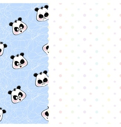 Children frame with pandas and stars vector