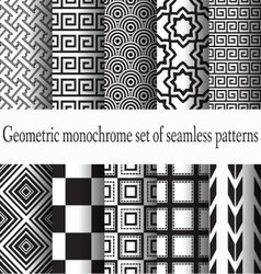 Set of monochrome seamless vector