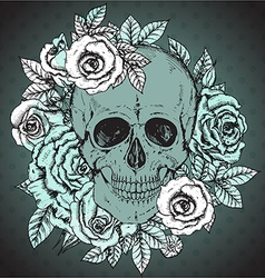 With hand drawn human skull rose flowers vector