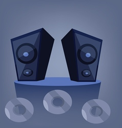 Two blue music speakers on a deck vector