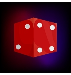 Red dice icon in cartoon style vector image