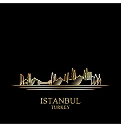 Gold silhouette of Istanbul on black background vector image