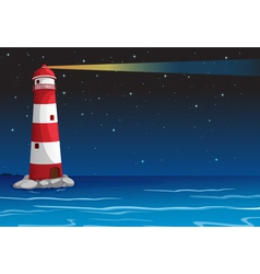A light house in dark night vector