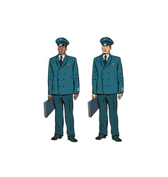 African and caucasian the pilots of civil aviation vector