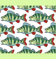 Bass fish seamless pattern vector