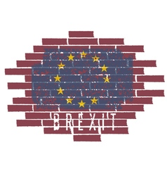 Brexit concept with eu flag on the brick wall vector