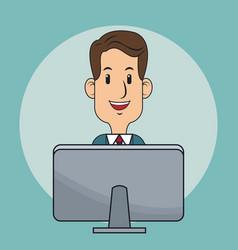 Business man laptop digital marketing vector