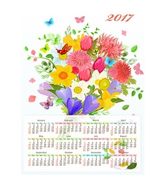 calendar for 2017 with colorful lovely flowers and vector image