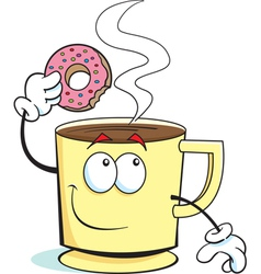 Cartoon Cup of Coffee and Donut vector image