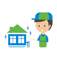 cleanup service worker and clean home cleaning vector image vector image