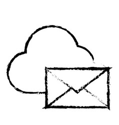cloud computing with envelope mail isolated icon vector image