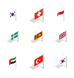 Country flag icon set isometric style vector