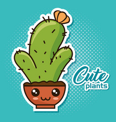cute kawaii cactus and succulent cartoon vector image
