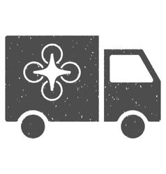 Drone delivery van icon rubber stamp vector