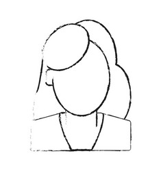 Faceless woman with long red hair icon image vector